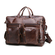 Top Quality Genuine Leather Briefcase Men Bag 15 Inch Laptop Soft Cowhide Messenger Bag Handbag Men's Bags Business Work GW06 (Coffee)