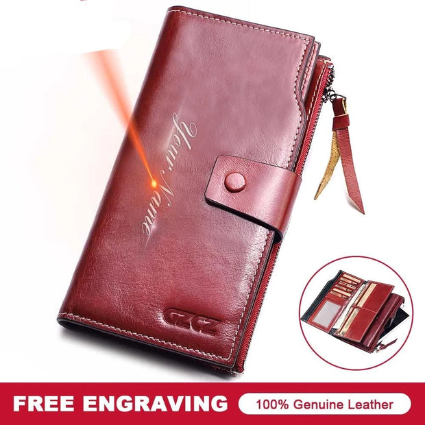 GZCZ Women Wallet Genuine Leather Female Long Coin Purse Cell Phone Pocket Hasp Lady Zipper Walet Clamp For Money Female 2018