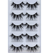 5 Pairs Multipack 3D Soft Mink Hair False Eyelashes Handmade Wispy Fluffy Long Lashes Natural Eye Makeup Tools Faux Eye Lashes