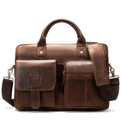 Briefcase Men's Genuine Leather Bag for Men Computer Portfolio for Documents Business Briefcases Leather 14inch Laptop Bag GW19