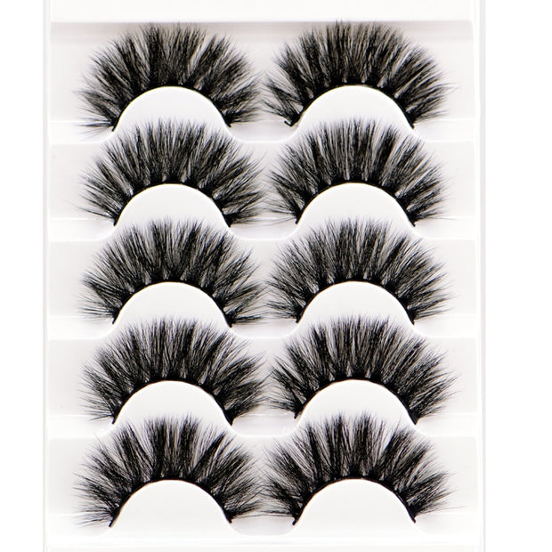 HBZGTLAD 5 Pairs 3D Handmade Fake Eyelashes Natural Long Thick Daily Makeup Thick Cross Eyelashes Eye Lashes