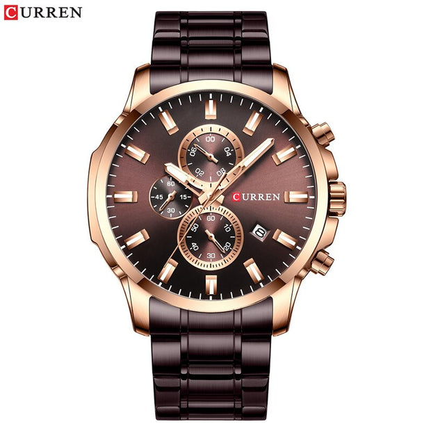 Luxury Brand Sports Quartz Watches Men Watch with Luminous Hands Chronograph Auto Date Fashion Stainless Steel Wristwatch
