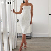 SIBYBO Strapless Pleated Sexy Bodycon Dress Off Shoulder Sleeveless Summer Party Dress Women Backless Beach Casual Women Dress - Roshyshine