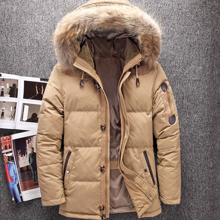 Winter Fur Hood Duck Down High Quality Jackets For Men Warm Out Swear - Roshyshine