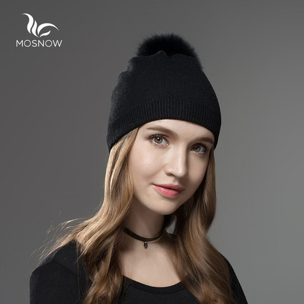 Hat Female Women Raccoon Wool Fox Fur Pom Poms Warm Knitted Casual High Quality Vogue Winter Hats Caps Skullies Beanies - Roshyshine