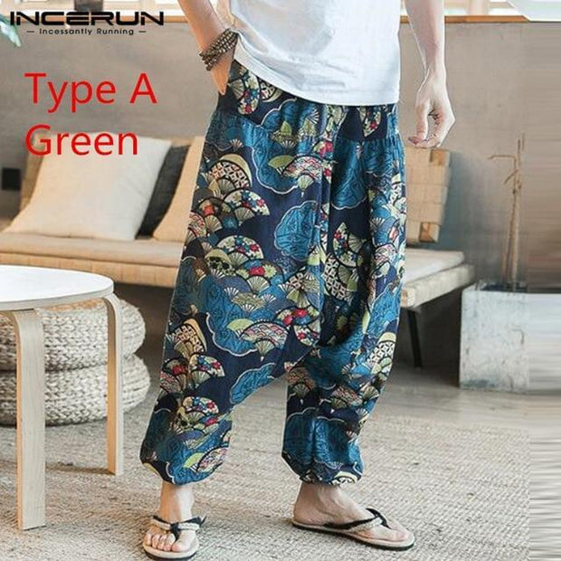 Baggy Cotton Linen Harem Pants Men Hip-hop Women Plus Size Wide Leg Trousers New Casual Vintage Long Pants Pantalon Hombre 2019 - Roshyshine