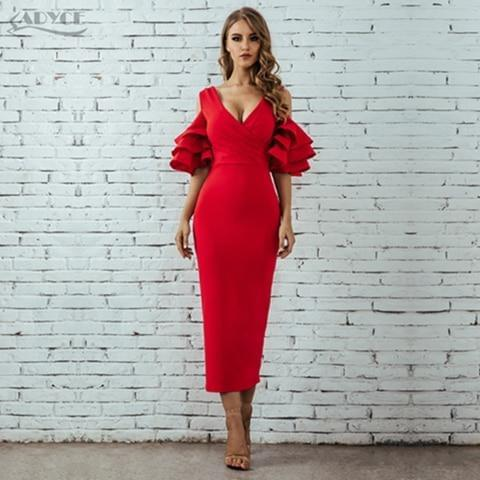 Adyce 2019 New Summer Women Club Dress Vestidos Celebrity Party Dress Yellow Red Ruffle Butterfly Short Sleeve Midi Club Dresses - Roshyshine