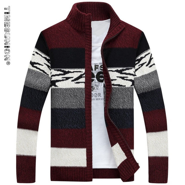 SAMHIBUGLE Knitted Sweater Men Cardigans Collar Winter Wool Sweater Fashion Cardigans Male Sweaters Coat Brand Men's Clothing - Roshyshine