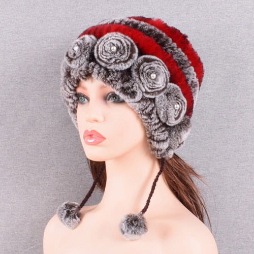 women's hat winter warm rabbit fur hats with pearls fashion striped unique design natural fur bomber hats female ball caps - Roshyshine
