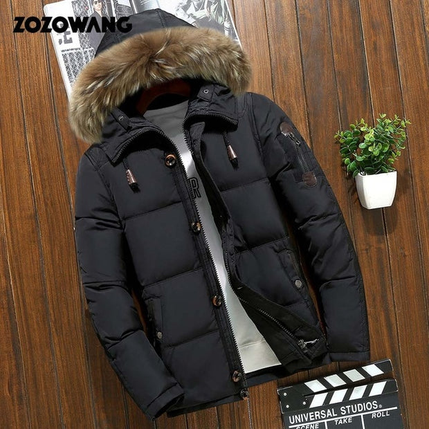 Men Winter Thick Warm Jacket For Men with Parkas Fur White Duck Down Coats with Waterproof - Roshyshine