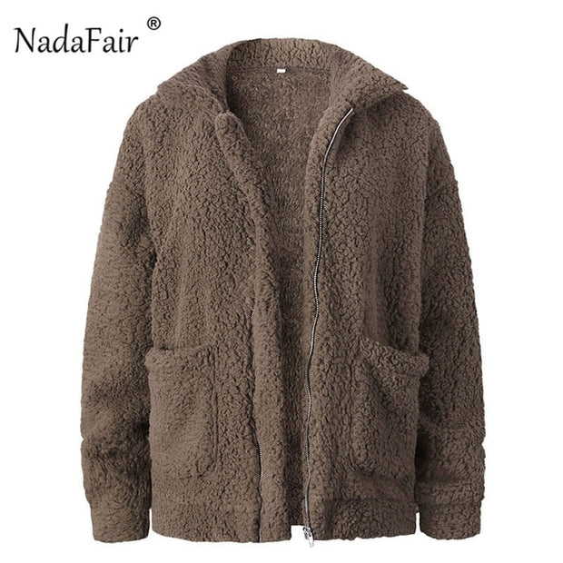 Women Fluffy Jacket with Zipper Plus Thick Casual  Winter Faux Fur Coat For Women - Roshyshine