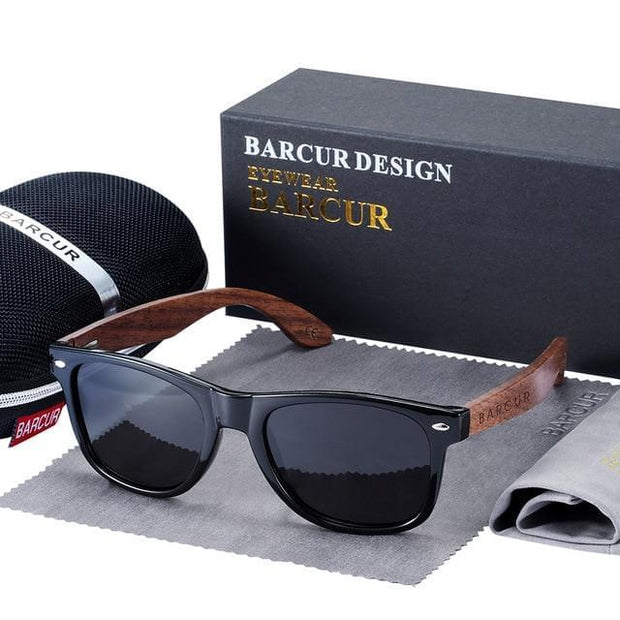 BARCUR Black Walnut Sunglasses Wood Polarized For Men  with UV400 Protection Eyewear In Wooden Original Box - Roshyshine