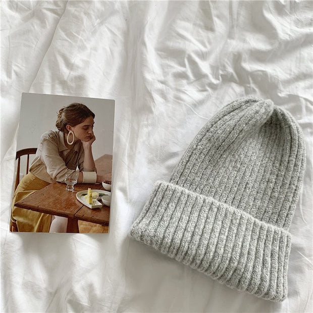 Womens Beanie Hat Autumn Women Wool Knit Beanie Hat Cuff Beanie Watch Cap for Girls Spring Skull Hats for Female - Roshyshine