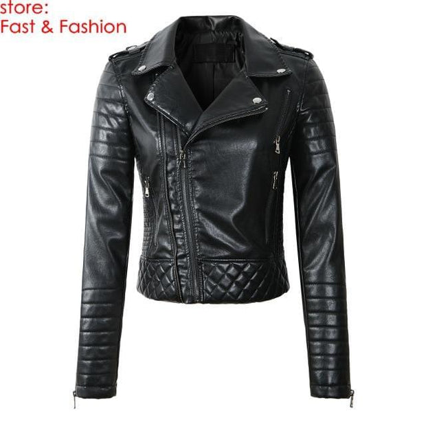 2020 New Fashion Women Spring Autumn Soft Faux Leather Jackets Lady Motorcyle Zippers Biker Blue Coats Black Outerwear Hot Sale - Roshyshine