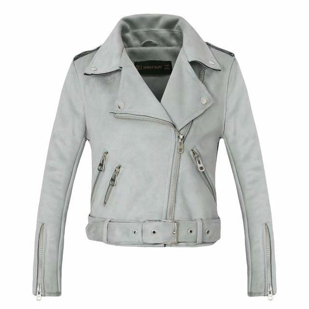 2020 New Arrial Women Autumn Winter Suede Faux Leather Jackets Lady Fashion Matte Motorcycle Coat Biker Gray Pink Beige Outwear - Roshyshine
