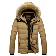 Winter Thick Jacket For Men  With  Hooded Fur Collar Parka Zipper Containing Coat - Roshyshine