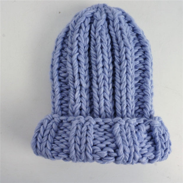 Women Winter Knitted Beanies Hat Thick Soft Warm Coarse Large Knitted Solid Hat Female Ice Ski Bonnet Skullies Beanies Hat Cap - Roshyshine
