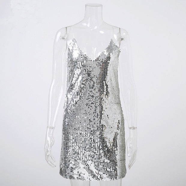 Deep V Neck Silver Sequined Backless Sexy Dress Women Off Shoulder Mini Dress Short Christmas Party Club Strap Dresses Vestidos - Roshyshine
