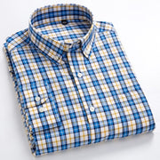 Men's Casual Long Sleeve Checkered Dress Shirts Standard-fit Comfortable Soft 100% Cotton Button-down Plaid Striped Tops Shirt - Roshyshine