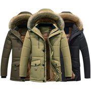 Winter Thick Warm Jacket For Men with Parka Fleece Fur Hooded Casual - Roshyshine