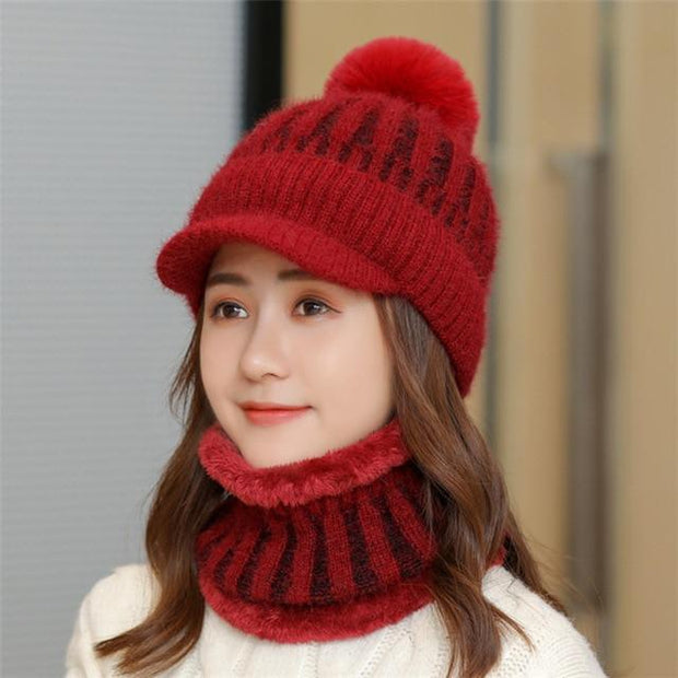Brand New Winter Visor Hats Women Mixed color knit Beanie Skullies Hat Female Thick Velvet Hair Ball Warm Bonnet Caps Bib Set - Roshyshine