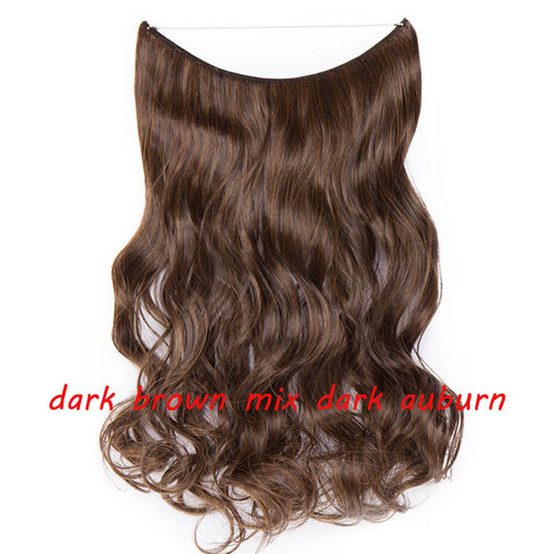 S-noilite 20inch Invisible Wire No Clip One Piece Halo Hair Extension flip in false hair Hairpieces Synthetic hair for women - Roshyshine