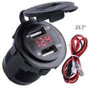 4.2A Waterproof Dual USB Charger Socket Power Outlet with Voltmeter LED light for 12-24V Car Boat marine ATV RV Motorcycle - Roshyshine