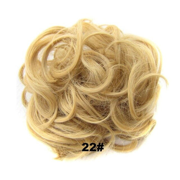 Delice Women's Curly Chignon With Elastic Rubber Band Synthetic Scrunchie Wrap Hair Messy Bun Hairpieces - Roshyshine