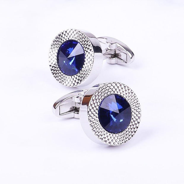 Blue Crystal Cone Cufflinks Men Classic Brand Blue Prismatic Cuff Button Designer High Quality Men's Shirt Taper Cuff Links - Roshyshine