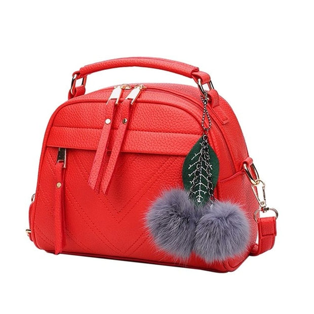 New Fashion Pure Leather Handbag for Women Girl Messenger with Ball Toy Bolsa Female Shoulder Bags Ladies Party Handbags - Roshyshine