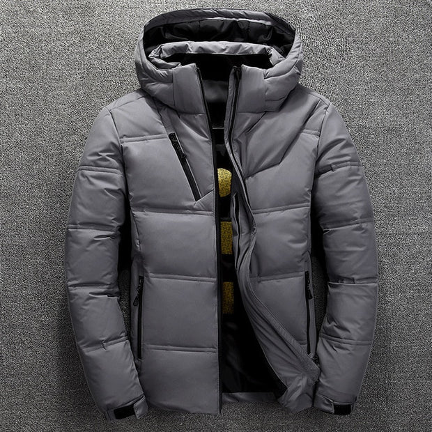 Winter Down Parkas Mens High  Quality Thermal Thick  Warm Outwear  White Duck Down Jacket - Roshyshine