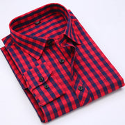 Men Plaid Shirt 100% Cotton Spring Autumn Casual Long Sleeve Shirt Soft Comfort Slim Fit Styles Brand Man Clothes - Roshyshine