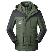 Men's Winter Down Jacket 2 in 1 Cotton Liner Outwear Thick Warm Coat With  Hood - Roshyshine