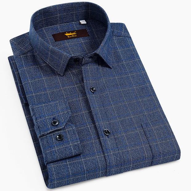 Men's Standard-Fit Long-Sleeve Brushed Plaid Checkered Shirt with Single Chest Pocket Button Closure Casual 100% Cotton Shirts - Roshyshine