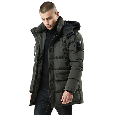 Men's Winter Down Jacket with Fur Collar Thicken Jacket Streetwear - Roshyshine