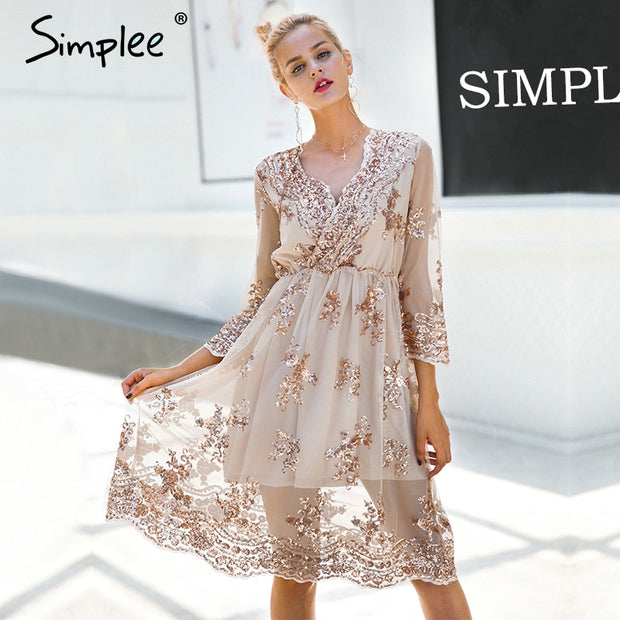 Simplee V neck long sleeve sequined party dresses women Sexy mesh streetwear midi dress female 2018 spring black dress vestido - Roshyshine