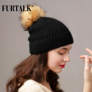 FURTALK Cashmere Rabbit Fur Winter Beanie Hat Women Knitted Slouchy Beanie Hats for Girls Skullies Hat for Female - Roshyshine