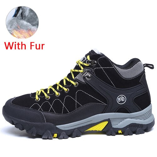 JUNJARM New Men Boots Winter With Fur 2019 Warm Snow Boots Men Winter Boots Work Shoes Men Footwear Fashion Rubber Ankle Shoes
