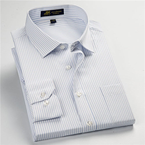 high quality new summer/spring plus size S~ 5xl  long sleeve striped men dress shirts  regular fit non-iron easy care - Roshyshine