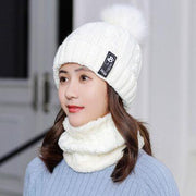 2019 New Knitted Winter Hat Scarf Set Women Thick Cotton Beanies And Ring Scarf Female Knitted Winter Accessories Girls Gift - Roshyshine