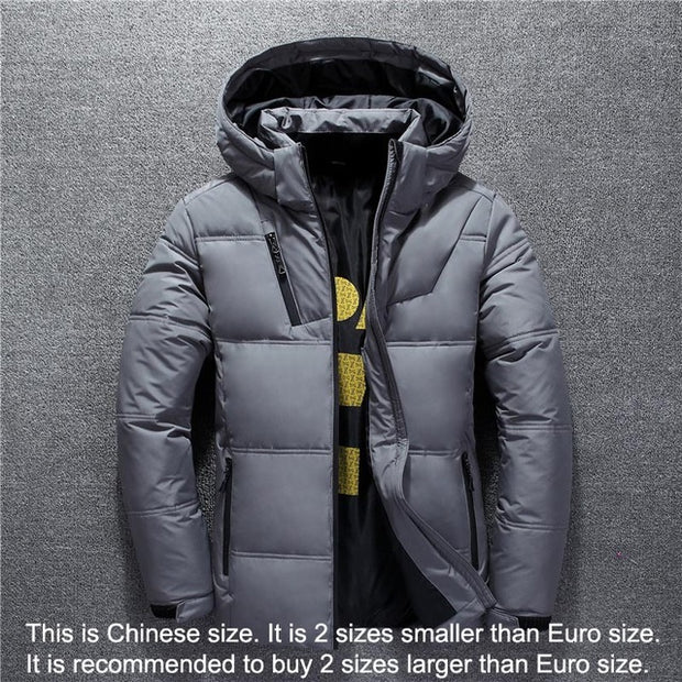 Winter Jacket For Men High Quality Fashion Casual Coat with Hood Thick Warm Waterproof Down Jacket - Roshyshine