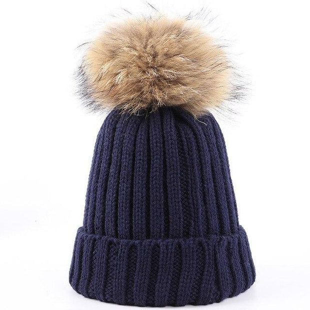 2019 Fashion Winter Ladies Raccoon Fur Pom poms Knit Beanie Warm Women Thicken Casual Hat Cotton Female Soft Cap Skullies Bonnet - Roshyshine