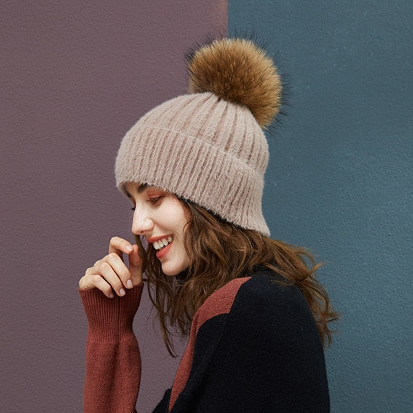 Fur Pompom hats beanie Winter Knitted Beanies Women hats With Fur Ball Striped Solid color High Quality Female Skullies Beanies - Roshyshine