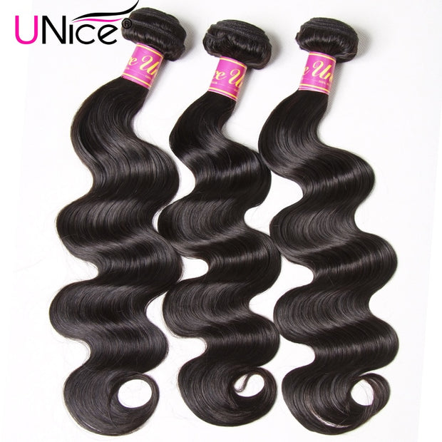 "UNICE HAIR Brazilian Body Wave Hair Weave Bundles Natural Color 100% Human Hair weave 1/3/4 Piece 8-30"" Remy Hair Extensions - Roshyshine"