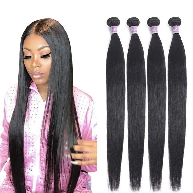 Allove Straight Hair Bundles Brazilian Hair Weave Bundles 100% Human Hair Bundles Natural Color Non Remy Hair Weave 1/3/4 Pieces - Roshyshine