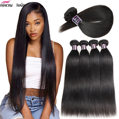 Ishow Brazilian Hair Weave Bundles Straight Hair Bundles Natural Color 100% Human Hair Bundles Non-Remy Brazilian Straight Hair - Roshyshine
