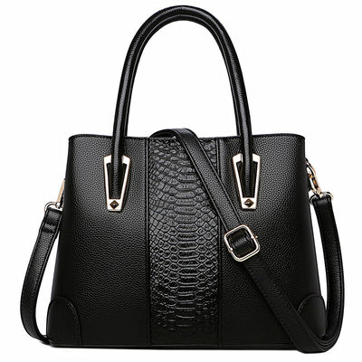 Elegant Women's Bags Genuine Leather Luxury Women Crocodile Pattern Handbag Large Black Leather Tote Bag Female Shoulder Bag - Roshyshine