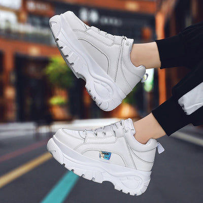 Women Shoes 2019 Chunky Sneakers Women Vulcanize Shoes White Femme Platform Sneakers Trainers Casual Shoes Woman ISN Dad Shoes