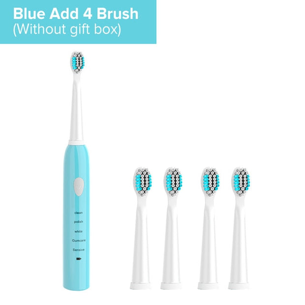 Ultrasonic Sonic Electric Toothbrush USB Rechargeable For Adult - Roshyshine