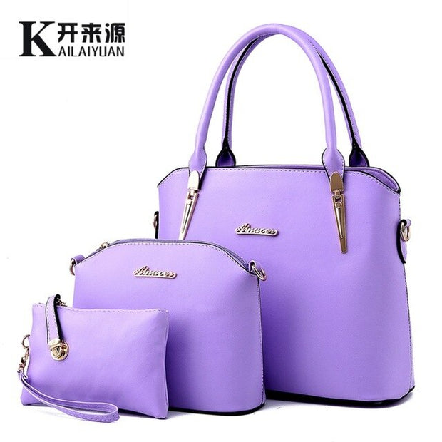 Women leather handbag New Three piece type, fashion Crossbody Shoulder Handbag, women messenger bags - Roshyshine